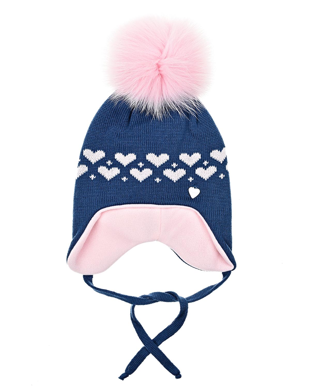 Купить Синяя шапка с завязками из шерсти Il Trenino, Синий, 100%шерсть, 100%полиэстер, нат.мех лисы