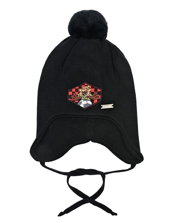Купить Черная шапка с нашивкой и меховым помпоном Il Trenino детская, Черный, 100%шерсть, натур.мех лисы