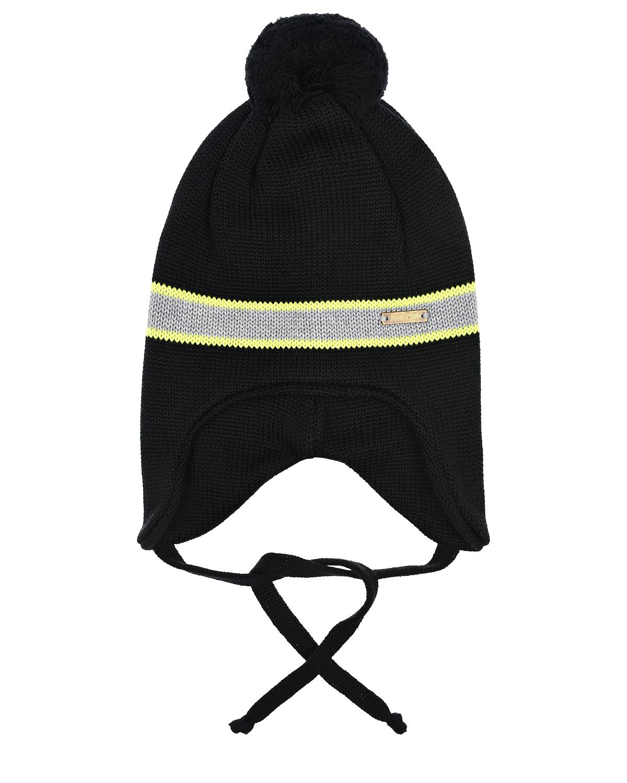 Купить Черная шапка с помпоном и флисовой подкладкой Il Trenino детская, Черный, 100%шерсть, нат.мех