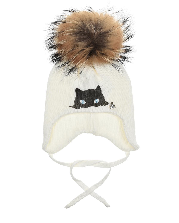 Купить Белая шапка из шерсти с меховым помпоном Il Trenino детская, Белый, 100%шерсть. нат.мех енота
