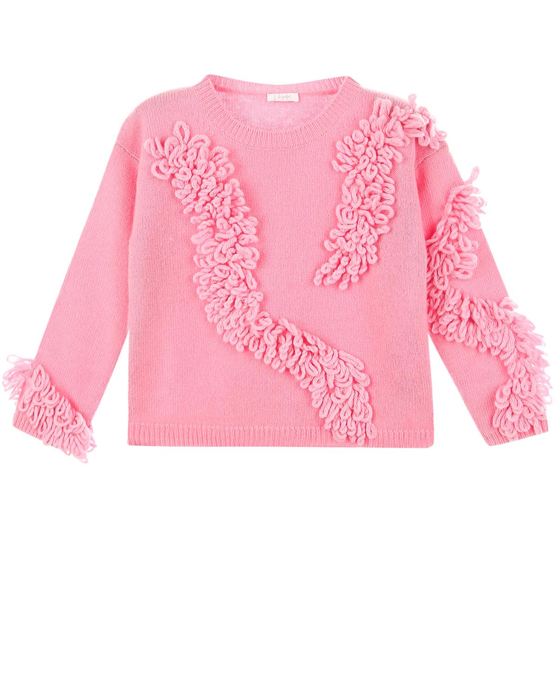 Розовый джемпер с декором из шерсти IL Gufo детский фото