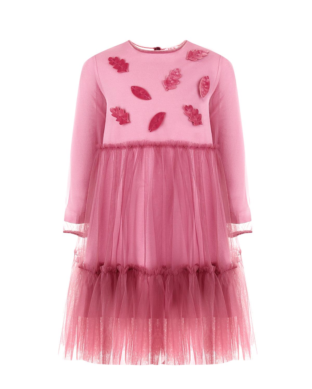 Розовое платье с оборками и аппликациями IL Gufo детское фото