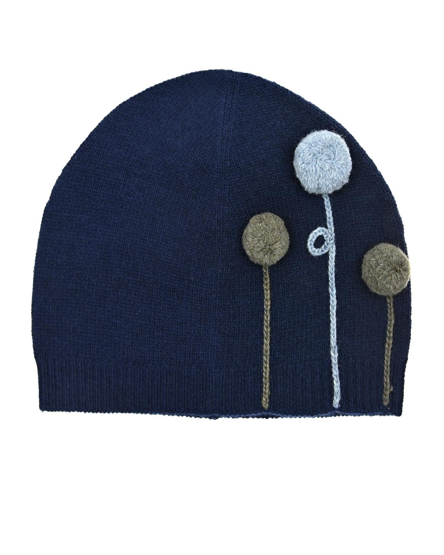 Купить Синяя шапка с мини-помпонами IL Gufo детская, Синий, 100%шерсть