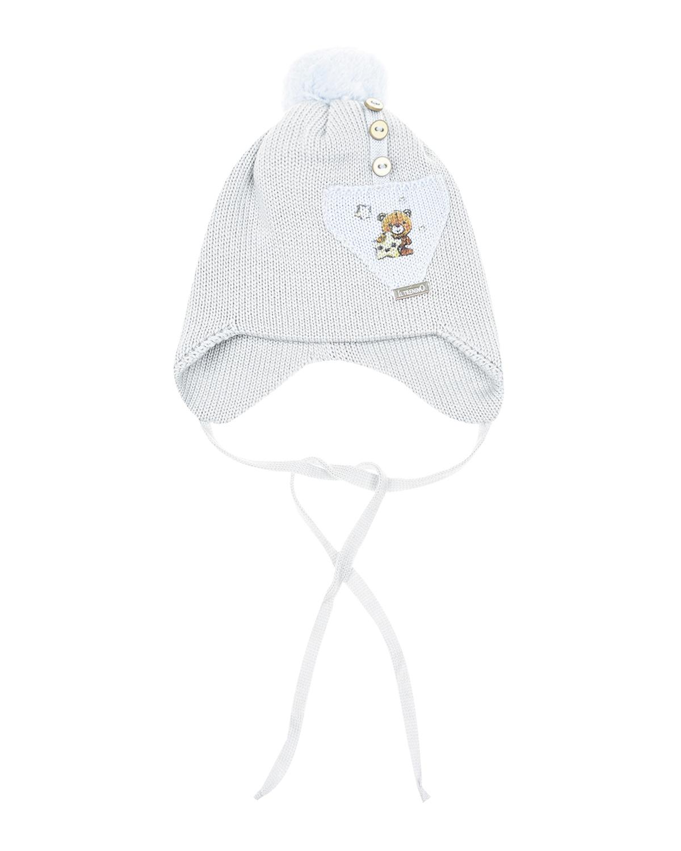 Серая шапка с помпоном из шерсти Il Trenino детская фото