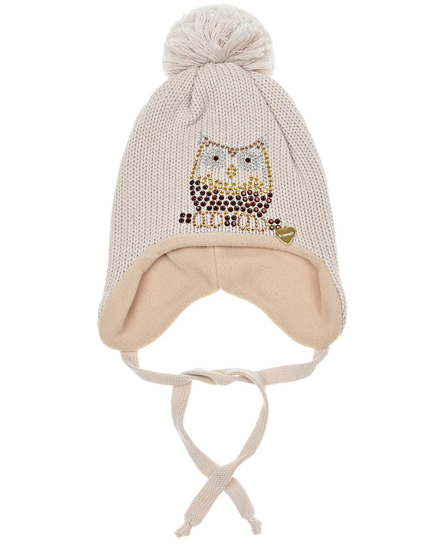 Купить Бежевая шапка со стразами Il Trenino детская, Бежевый, 100%шерсть, 100%полиэстер