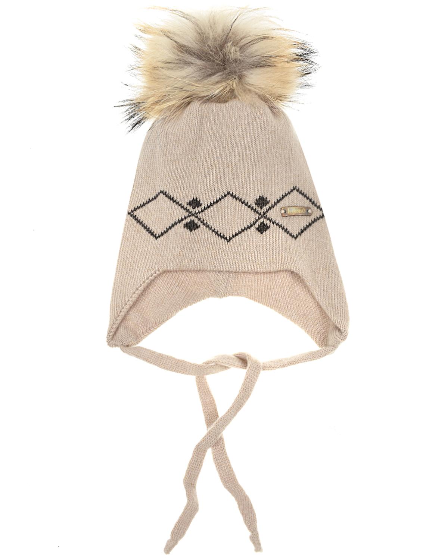 Купить Бежевая шапка из шерсти и кашемира Il Trenino, Бежевый, 70%шерсть+30%кашемир, натур.мех енота