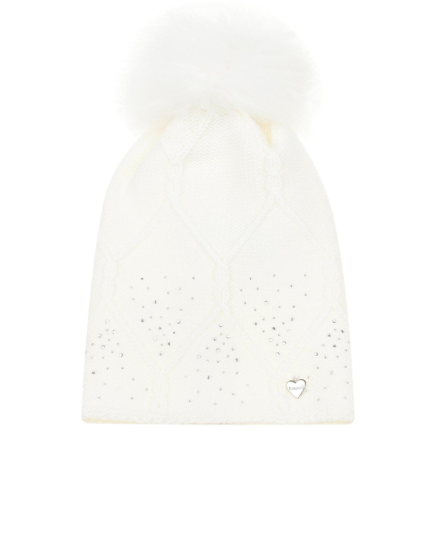 Купить Белая шапка из шерсти с меховым помпоном и стразами Il Trenino детская, Белый, 100%шерсть, 100%полиэстер, нат.мех енота
