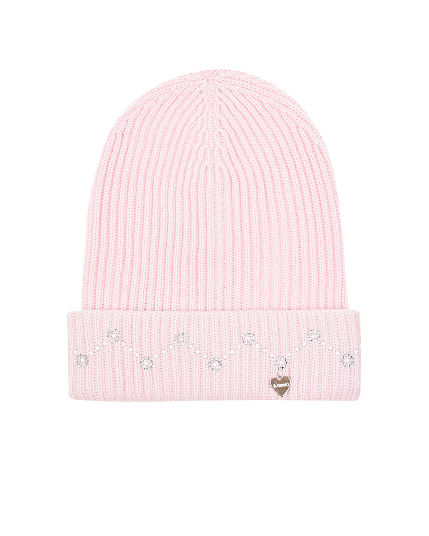Купить Розовая шапка со стразами на отвороте Il Trenino