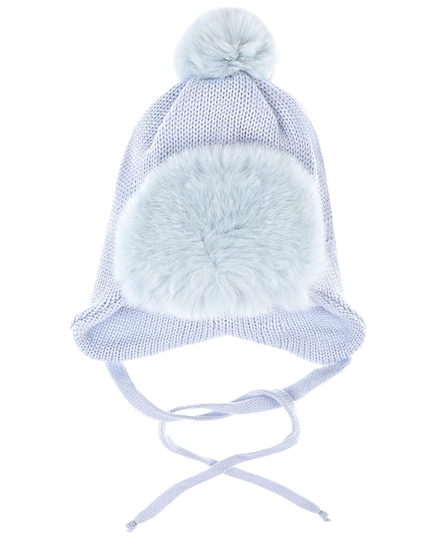 Купить Шапка из шерсти с меховым отворотом Il Trenino детская, Голубой, 100%шерсть, нат.мех кролика рекс