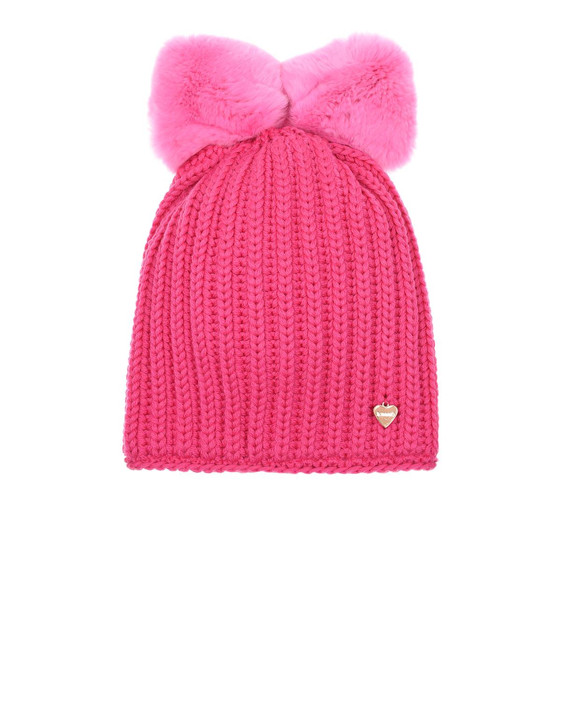Купить Розовая шапка с бантом из меха Il Trenino