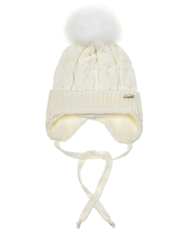 Купить Белая шапка с помпоном и завязками Il Trenino детская, Белый, 100%шерсть, 100%полиэстер, нат.мех лисы