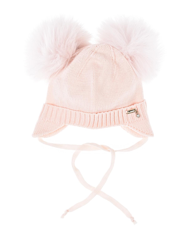 Розовая шапка с двумя меховыми помпонами Il Trenino детская фото