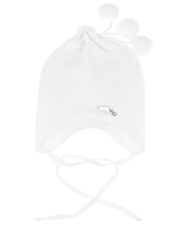 Купить Белая шерстяная шапка с помпонами Il Trenino