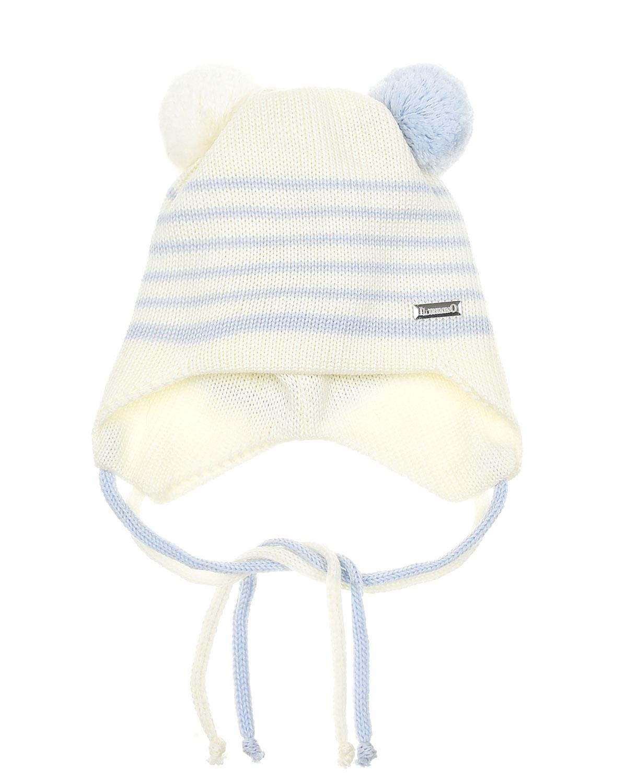 Купить Шапка в полоску с завязками Il Trenino детская, Кремовый, 100%шерсть