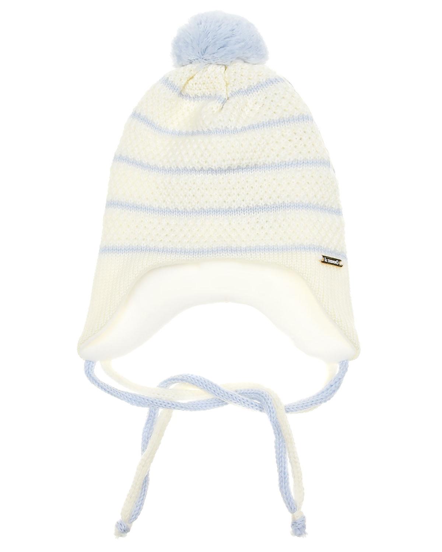 Шерстяная шапка в полоску с завязками Il Trenino детская фото