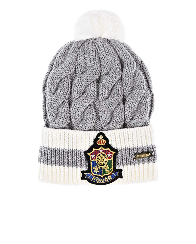 Шерстяная шапка фактурной вязки Il Trenino детская фото