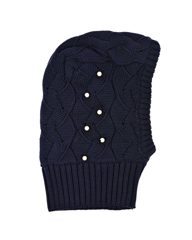 Купить Шапка-шлем из шерсти с бусинами Il Trenino детская, Синий, 100%шерсть, 100%полиэстер