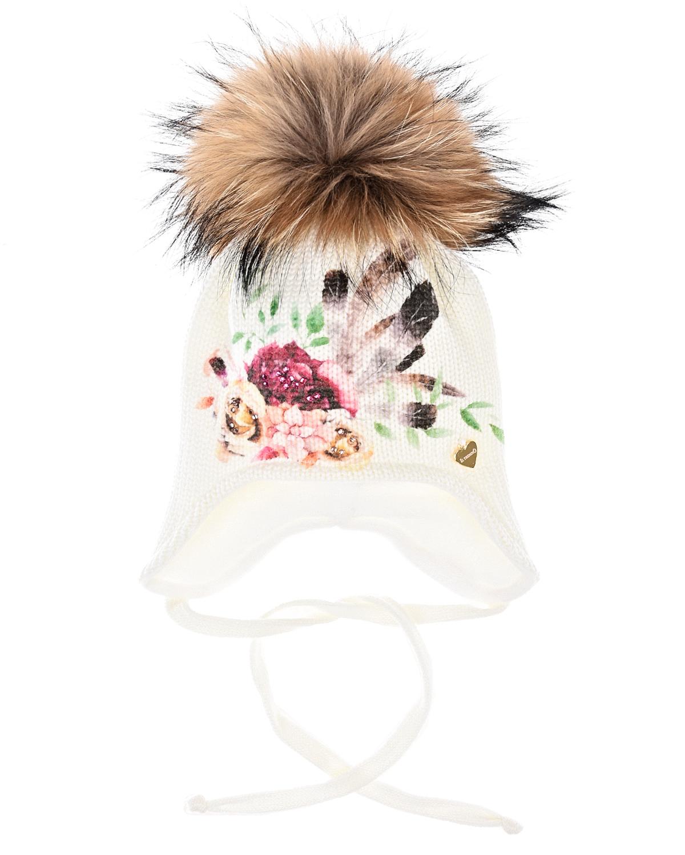 Купить Шерстяная шапка с цветочным принтом и стразами Il Trenino, Белый, 100%шерсть, 100%полиэстер, нат.мех енота