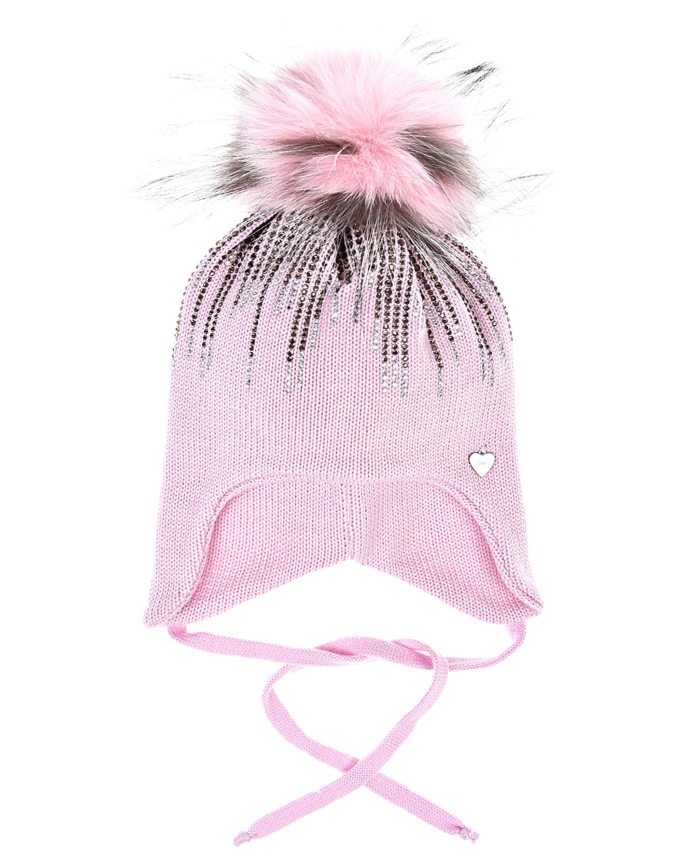 Купить Розовая шапка из шерсти со стразами Il Trenino детская, Розовый, 100%шерсть, нат.мех лисы и енота