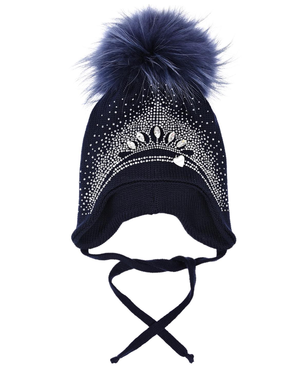 Купить Синяя шапка со стразами и меховым помпоном Il Trenino, Синий, 100%шерсть, нат.мех енота