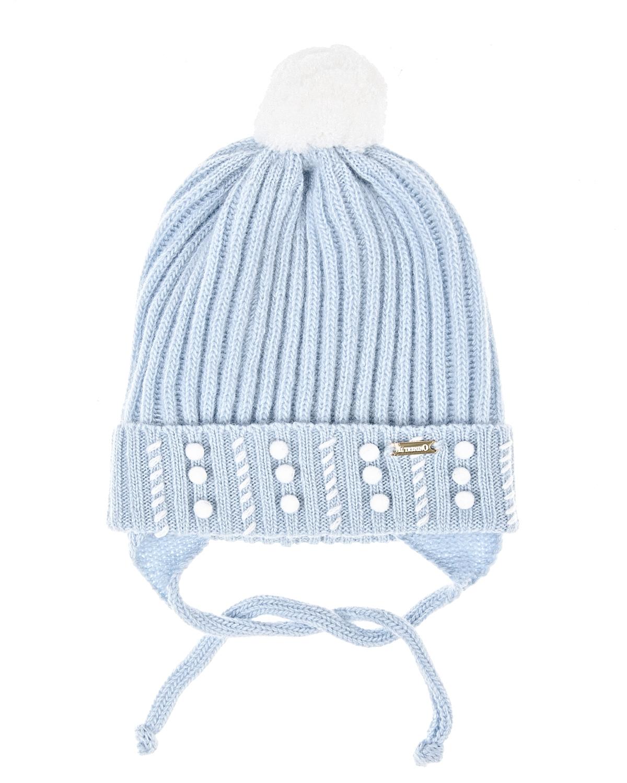 Купить Голубая шапка из шерсти и кашемира Il Trenino детская, Голубой, 70%шерсть+30%кашемир