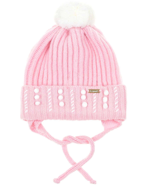 Купить Розовая шапка из шерсти и кашемира с бусинами Il Trenino детская, Розовый, 70%шерсть+30%кашемир