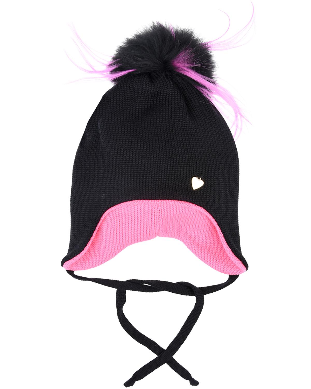 Купить Шерстяная шапка с розовой подкладкой Il Trenino детская, Черный, 100%шерсть, натур. мех лисы и енота
