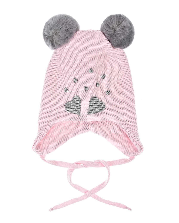 Купить Розовая шапка с аппликациями и помпонами Il Trenino