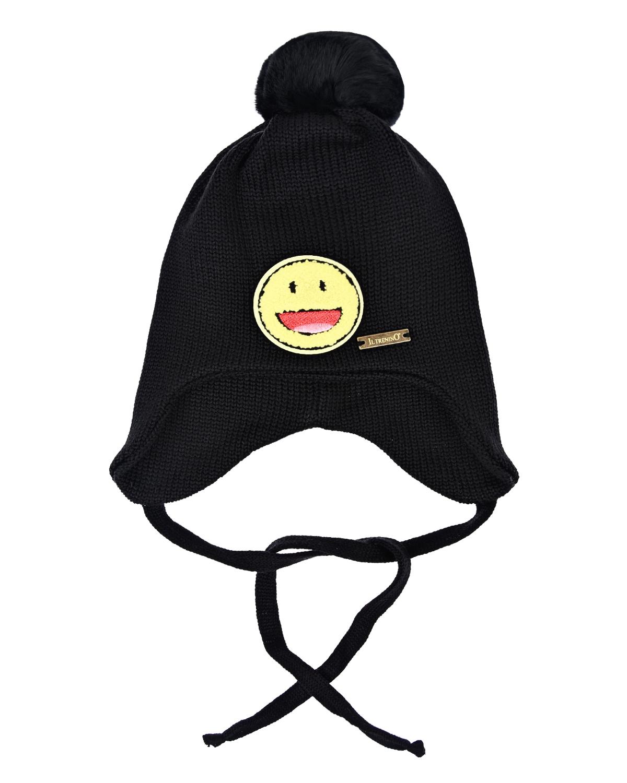 Купить Черная шапка с завязками Il Trenino