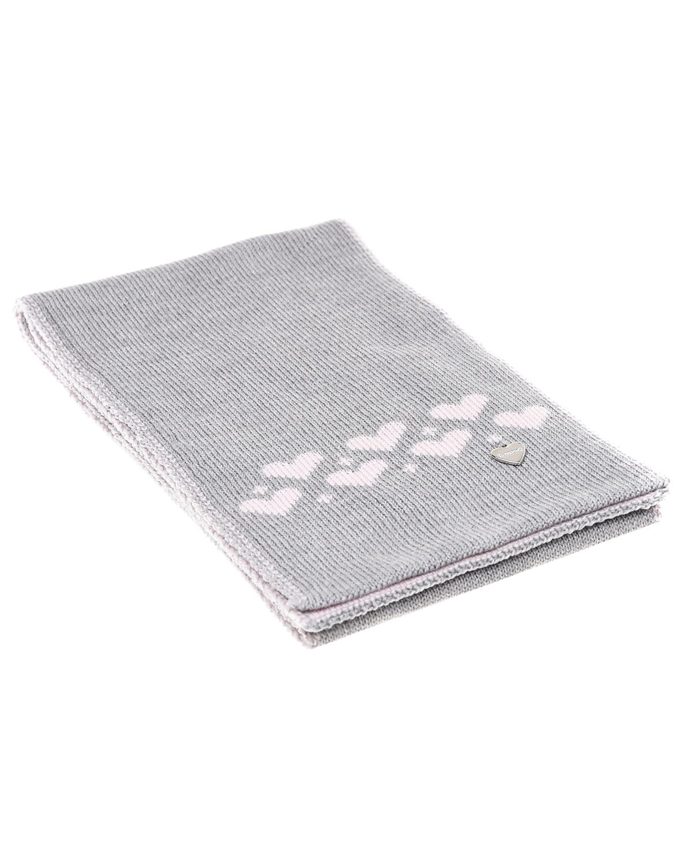 Купить Серый шарф с сердечками Il Trenino детский, 100%шерсть