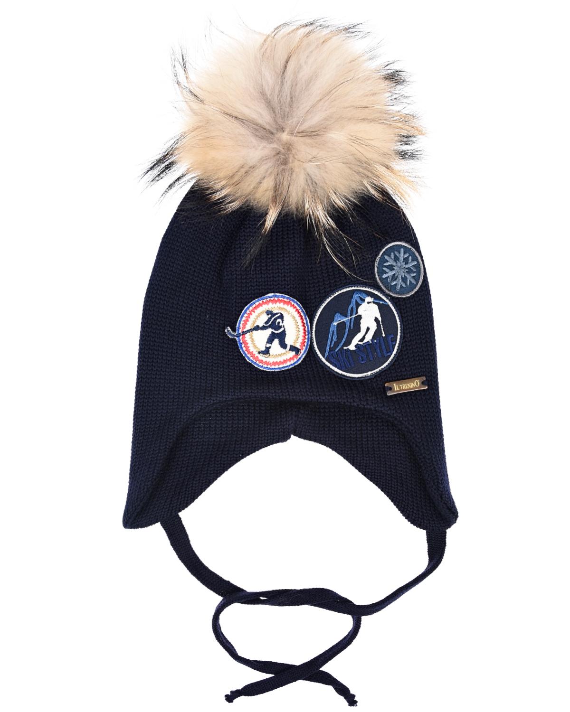 Купить Синяя шапка с нашивками Il Trenino детская, Синий, 100%шерсть, нат.мех енота