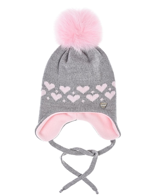 Купить Серая шапка с розовой подкладкой Il Trenino детская, Серый, 100%шерсть, 100%полиэстер, нат.мех лисы