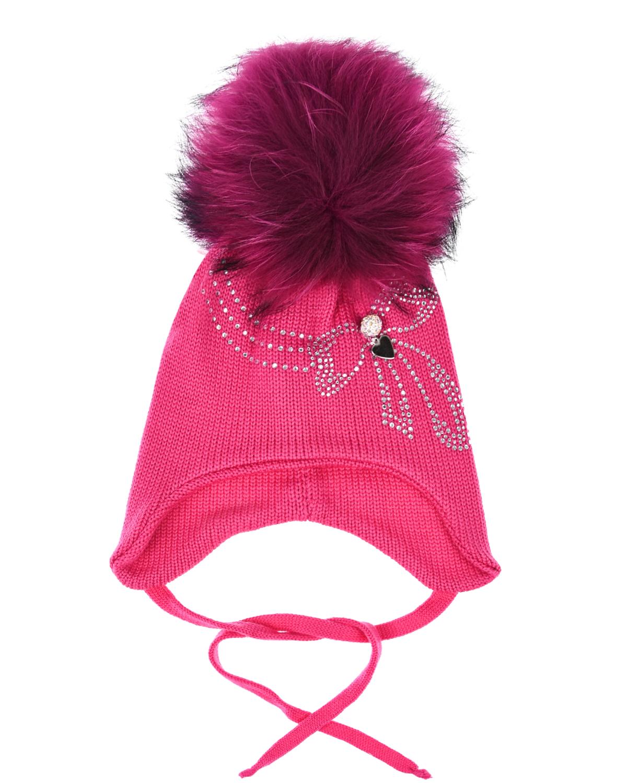 Купить Розовая шапка с помпоном и декором из страз Il Trenino детская, Розовый, 100%шерсть, нат.мех енота