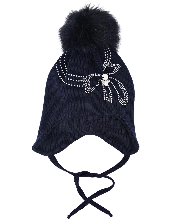 Купить Синяя шапка с помпоном и бантом из страз Il Trenino детская, Синий, 100%шерсть, нат.мех енота