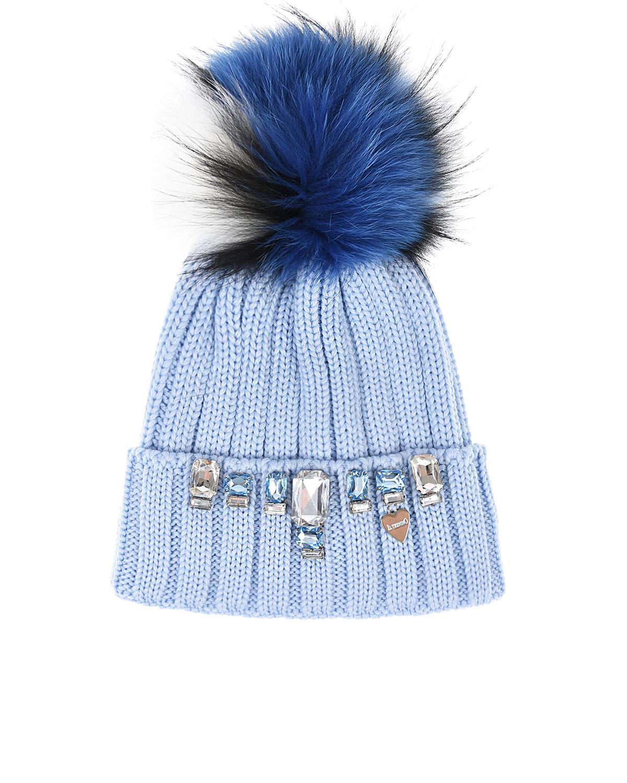 Купить Голубая шапка с кристаллами на отвороте Il Trenino детская, Голубой, 100%шерсть. нат мех енота