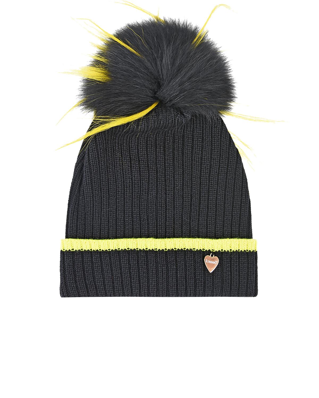 Шерстяная шапка с контрастной отделкой Il Trenino детская, Черный, 100%шерсть, нат.мех лисы и енота  - купить со скидкой