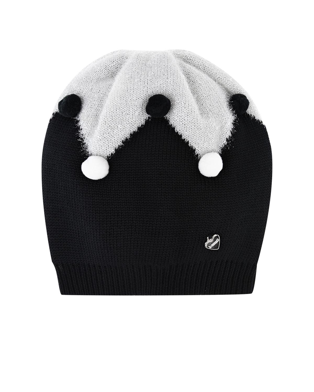 Купить Двухцветная шапка с помпонами Il Trenino детская, Черный, 100%шерсть
