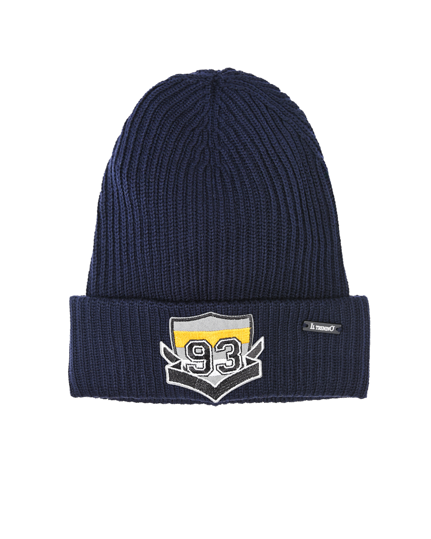 Синяя шапка с аппликацией на отвороте Il Trenino детская фото