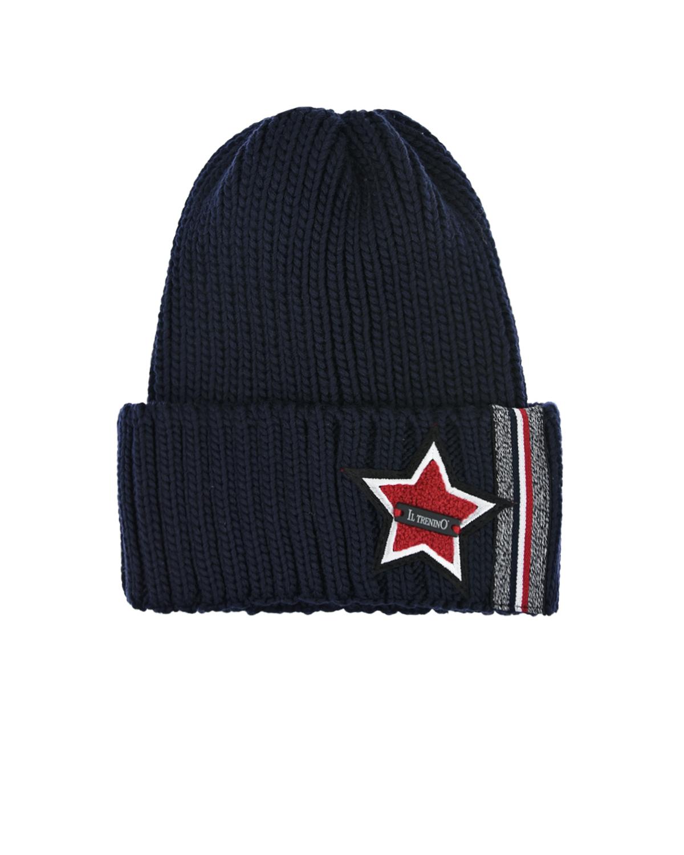 Купить Черная шапка с нашивкой на отвороте Il Trenino детская, Синий, 100%шерсть