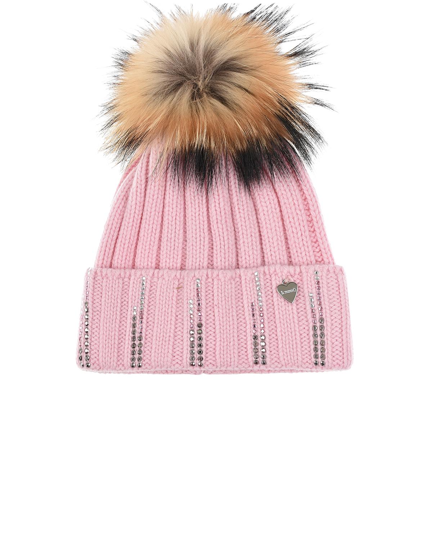 Купить Розовая шапка со стразами Il Trenino