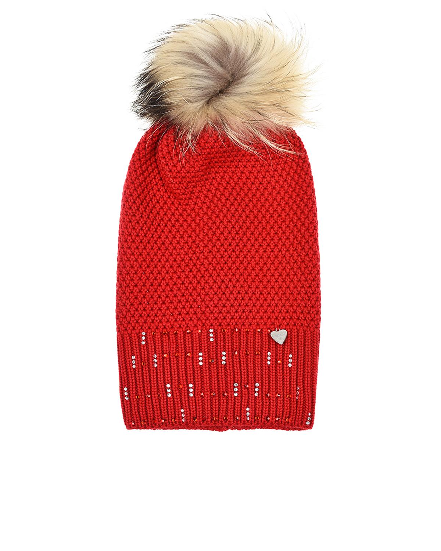 Купить Удлиненная красная шапка с меховым помпоном Il Trenino, Красный, 100%шерсть, нат. мех енота