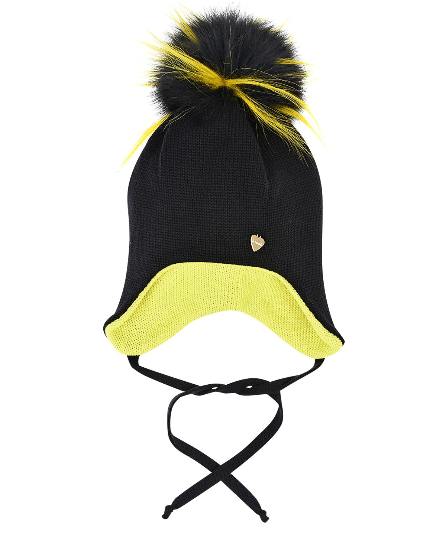Купить Черная шапка с двухцветным помпоном из меха Il Trenino детская, Черный, 100%шерсть, натур.мех лисы и енота