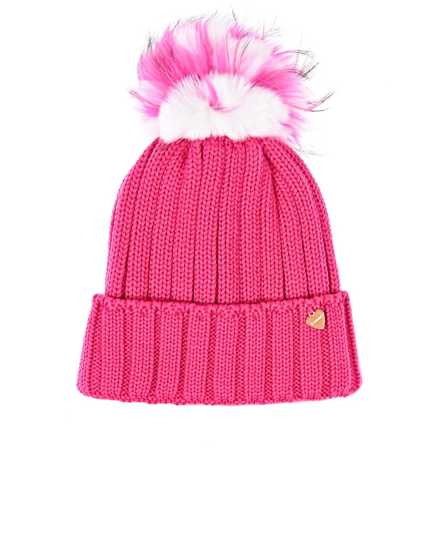 Купить Шапка с разноцветным помпоном Il Trenino, Розовый, 100%шерсть, 100%полиэстер, натур.мех кролика рекс и енота
