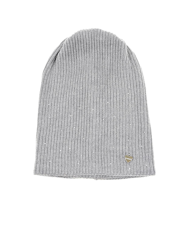 Купить Серая удлиненная шапка из шерсти Il Trenino детская, Серый, 100%шерсть