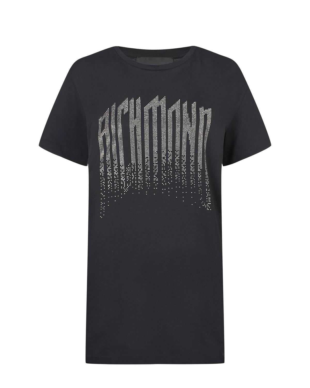 Купить Черная футболка с готическим логотипом John Richmond