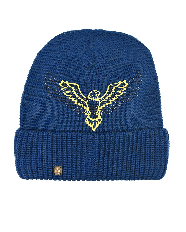 Синяя вязаная шапка с принтом Joli Bebe детская фото