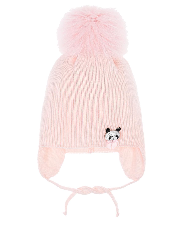 Купить Шерстяная шапка с завязками Joli Bebe детская, Розовый, 100%шерсть, 100%полиэстер, мех лисы
