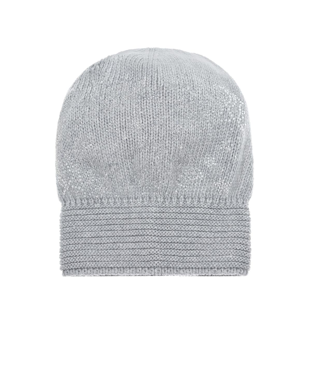 Купить Серая шапка из кашемира со стразами Joli Bebe детская, Серый, 70%шерсть+30%кашемир