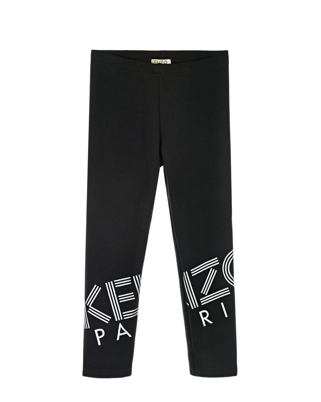 Купить Утепленные леггинсы с логотипом KENZO детские, Черный, 70%полиэстер+28%хлопок+2%эластан