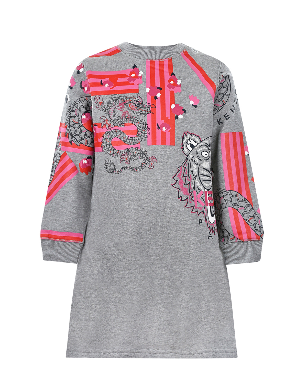 Купить Серое платье из хлопка KENZO детское, Серый, 100%хлопок